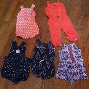 5 baby girl rompers. 18 month old.
